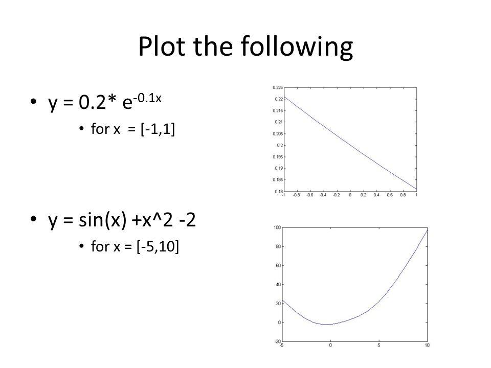 Plot the following y = 0.2* e-0.1x y = sin(x) +x^2 -2 for x = [-1,1]